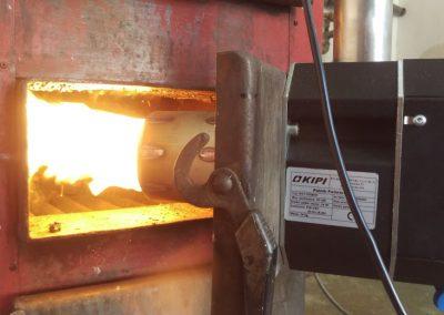 palnik  pelletowy podczas pracy