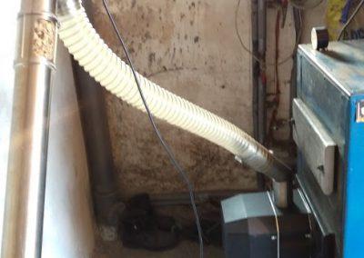 Kocioł węglowy zmodrrnizowany z palnikiem na pelet