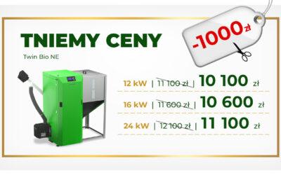 Promocja na Kotły Kostrzewa TWIN BIO NE – MINUS 1000zł i UWAGA. Dodatkowo od nas otrzymujesz 6% rabatu lub pompa gratis lub zestaw higieniczny gratis