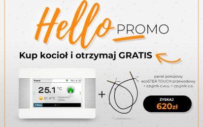 """Promocja """"Hello PROMO"""" – Kup kocioł z palnikiem VG i otrzymaj panel pokojowy ecoSTER Touch przewodowy +czujnik C.W.U + czujnik C.O. Gratis"""
